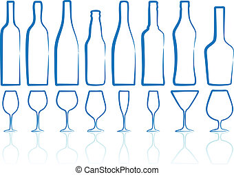 bottles and glasses - bottle and glass silhouettes, vector...