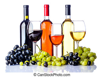 bottles and glasses of wine with grapes