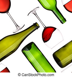 Bottles and glasses seamless pattern