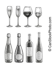 Bottles and glasses with champagne and wine.