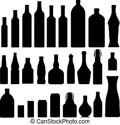 Bottles and jars silhouettes - Bottles and jars set in...