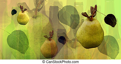Bottles and pears - Abstract bottles  and pears pattern