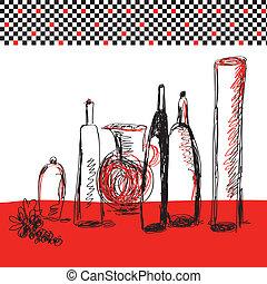 Bottles artistic card for menu