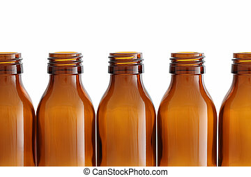 Bottles - Brown glass bottles isolated on white background