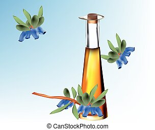 illustration of a jar of cosmetic oil honeysuckle plant, blue fruits with leaves, on blue  background