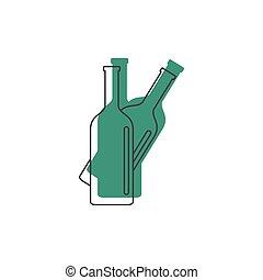 Bottles icon, doodle style