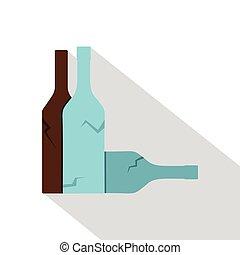 Bottles icon, flat style
