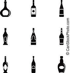 Bottles icon set, simple style