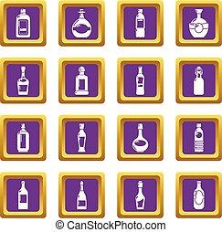 Bottles icons set purple square vector