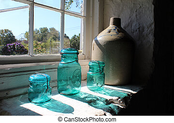 Bottles in Amish Country Kitchen - Sunlight streaming...