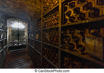 Bottles in the wine cellar in the wine cellar