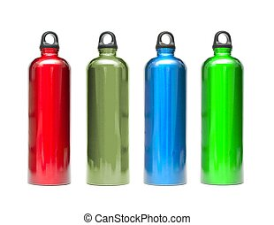 Metal water bottles in different colors isolated on white