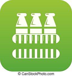 Bottles milk icon green vector