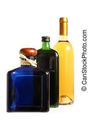 Bottles of alcoholic drinks