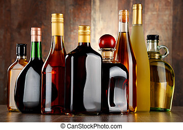 Bottles of assorted alcoholic beverages.