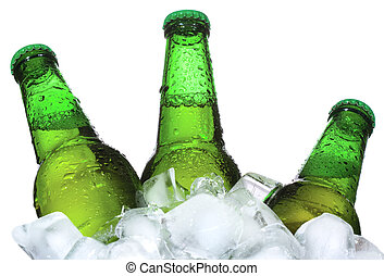 Bottles of beer are in ice