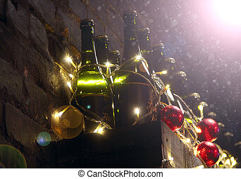 Bottles of champagne prepared for New Year. Supply of champagne and Christmas balls