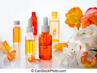 Bottles of essential aromatic oils