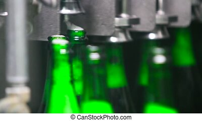 Bottles of green color move along conveyor
