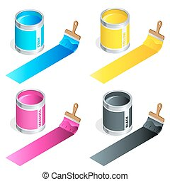 Bottles of ink in cmyk colors and paint brush on white isolated background. Flat 3d vector isometric illustration.
