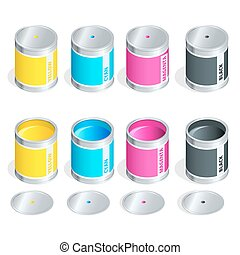 Bottles of ink in cmyk colors on white isolated background. Flat 3d vector isometric illustration.