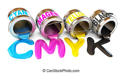 Bottles of ink in cmyk colors. Paint is poured from a can. ...
