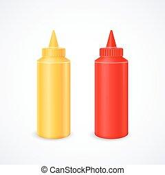 Bottles of ketchup and mustard