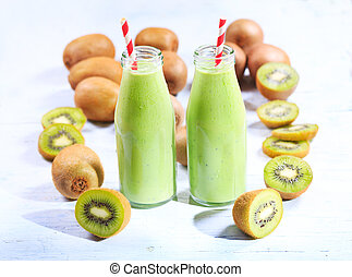 bottles of kiwi smoothie