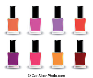 Bottles of nail polish in various shades. Vector