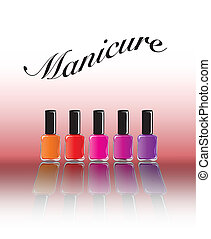 Bottles of nail polish in various shades with reflection. Manicure concept with space for text. EPS10 vector format.