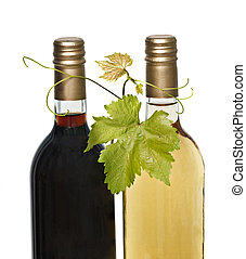 bottles of red and white wines with grape leafs