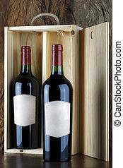 Bottles of red wine.