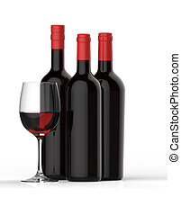 Bottles of red wine with glass