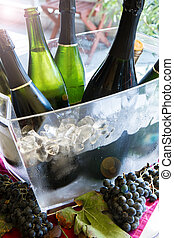 bottles of sparkling wine in a cool