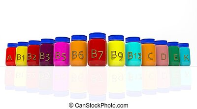 Bottles of vitamins isolated on white