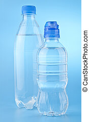bottles of water on a blue background