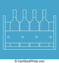 Bottles of wine in a wooden box icon blue outline style isolated vector illustration. Thin line sign