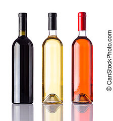 Bottles of Wine Isolated on White Background