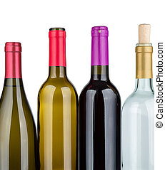 Bottles of wine  isolated on white