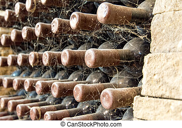 bottles of wine resting in rack with spider web on them wine aging concept