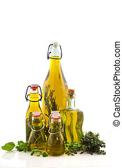 Bottles olive oil with herbs