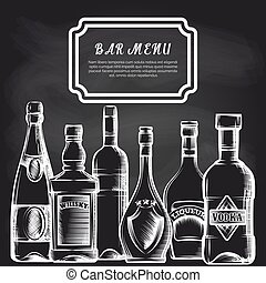 Bottles on chalkboard bar menu background