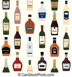 bottles., pattern., alcool, fond, seamless