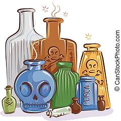 Bottles Poison Illustration