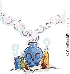 Bottles Poison Smoke Illustration