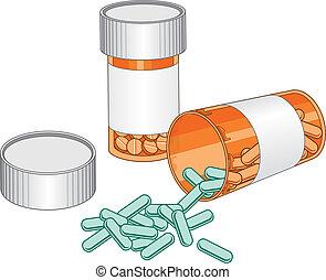 bottles-prescription, 丸薬, 薬