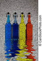 Bottles. Reflection on water