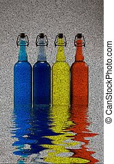 Bottles Reflection on water