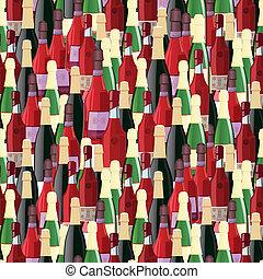 Bottles seamless pattern