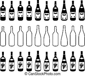 Bottles - Ten different bottles contour and two different...